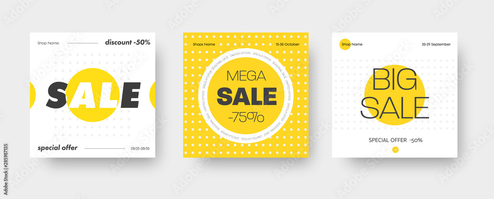 Fototapety, obrazy: Set of vector square web banners for big sale with round yellow and white elements.