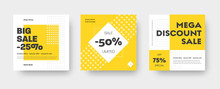 Vector Square Web Banner Templates For Big And Mega Sale With Yellow Square Elements.