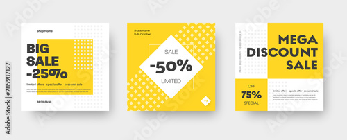 Fotografie, Obraz Vector square web banner templates for big and mega sale with yellow square elements