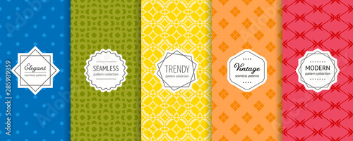 Foto auf Leinwand Künstlich Vector geometric seamless patterns set. Colorful background with modern labels
