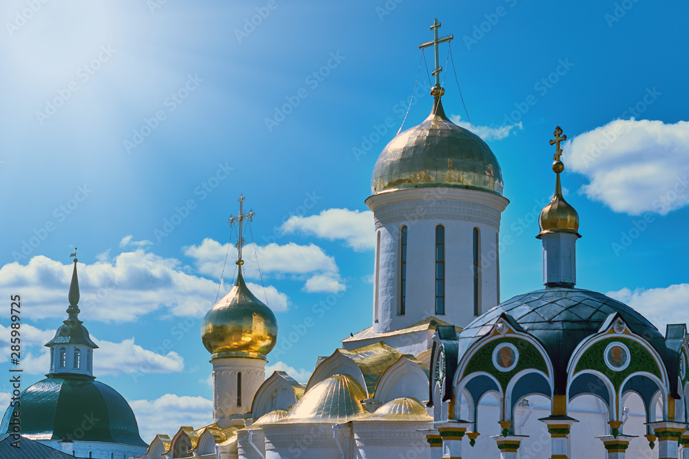 Fototapety, obrazy: Holy Trinity St. Sergius Lavra - the largest Russian monastery. Domes of Orthodox churches in Sergiev Posad - the Golden ring of Russia.