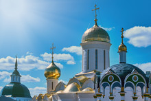 Holy Trinity St. Sergius Lavra - The Largest Russian Monastery. Domes Of Orthodox Churches In Sergiev Posad - The Golden Ring Of Russia.
