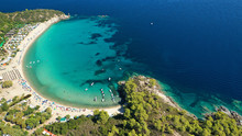Aerial Drone Photo Of Famous Turquoise Sandy Beach Of Armenistis In South Sithonia Peninsula, Halkidiki, North Greece