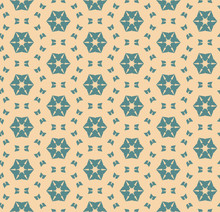 Vector Abstract Geometric Floral Seamless Pattern Teal And Tan Colors