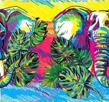 Seamless Pattern With Elephants And Tropical Leaves. Juicy Colorful Background, Summer.