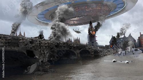 Alien Spaceship Invasion Over Destroyed London City Illustrattion Canvas Print