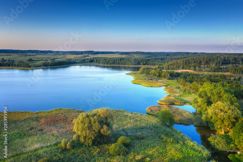 Fotobehang Bos rivier Elk River estuary to the Lake Haleckie. Aerial view. Masuria, Poland.