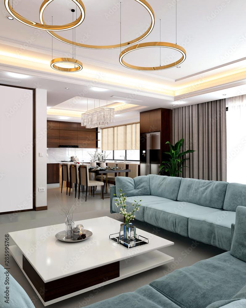Fototapety, obrazy: 3d render home living room