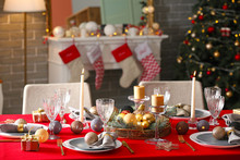 Festive Table Setting For Chri...