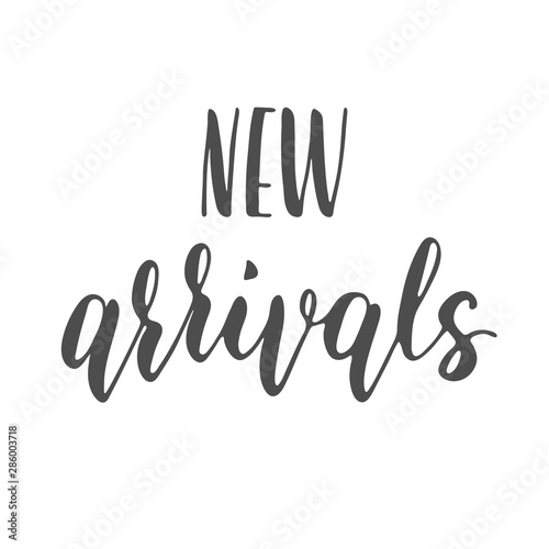 New arrivals sign, modern bounce lettering, vector Canvas Print
