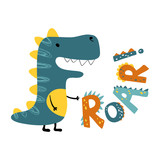 Fototapeta Dinusie - Roar dinosaur. Vector funny lettering quote with dino icon, scandinavian hand drawn illustration for greeting card, t shirt, print, stickers, posters design.