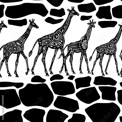 Photo  Seamless pattern with Giraffes and ethnic motifs