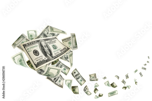Fototapeta Hundred dollar bill. Falling money isolated background. American obraz