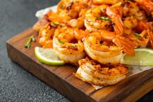 Grilled Shrimps Or Prawns Serv...
