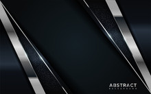 Realistic Navy Blue Combine With Silver And Black Line Textured Overlap Layer Background