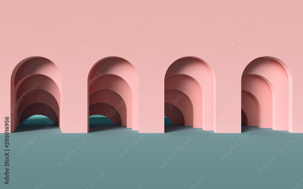 Fototapeta 3d render, abstract minimalist geometric background, architectural concept, arch inside pink wall, paper layers