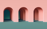 Fototapeta Scene - 3d render, abstract minimalist geometric background, architectural concept, arch inside pink wall, paper layers