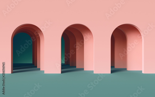 3d render, abstract minimalist geometric background, architectural concept, arch Wallpaper Mural