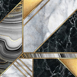 abstract art deco background, modern mosaic inlay, creative textures of marble granite agate and gold, artistic painted marbling, artificial stone, marbled tile surface, fashion marbling illustration - 286017104