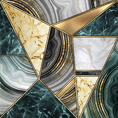 Fototapeta Abstrakcja abstract art deco background, modern mosaic inlay, creative texture of marble agate and gold, artistic painted marbling, artificial stone, marbled tile surface, minimal fashion marbling illustration