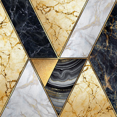 Fototapeta Abstrakcja abstract art deco geometric background, modern mosaic inlay, creative textures of marble granite agate and gold, artistic artificial stone, marbled tile surface, fashion marbling illustration
