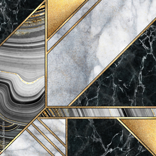Canvas Prints Geometric abstract art deco background, modern mosaic inlay, creative textures of marble granite agate and gold, artistic painted marbling, artificial stone, marbled tile surface, fashion marbling illustration