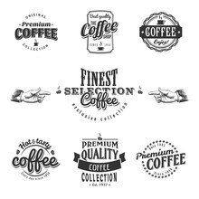 Set Of Vintage Retro Coffee Lo...