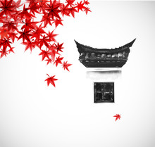 Traditional Window With Typical Chinese Design Elements On White Wall  And Red Maple Leaves. Traditional Oriental Ink Painting Sumi-e, U-sin, Go-hua.