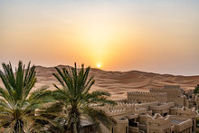 Qasr Al Sarab In Liwa, Al Dhafra, Abu Dhabi, United Arab Emirates At Sunset
