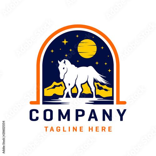 wild horse logo design template Wall mural