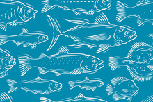 Fish Seamless Background. Underwater World, Seafood Vector Illustration