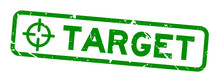 Grunge Green Target Word With Scope Icon Square Rubber Seal Stamp On White Background