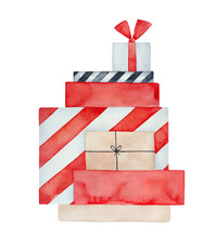 Watercolour Illustration Of Bright Stack Of Various Presents. Handdrawn Water Color Artistic Painting, Cut Out Clip Art Element For Design Decoration, Print, Greeting Card, Banner, Festive Background.