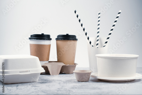 Eco-friendly biodegradable coffee cup , box, blow, plate,straw made by paper and recycle packaging. - 286025793