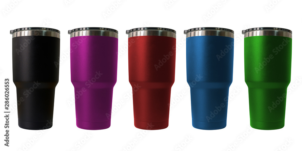 Fototapeta Stainless steel travel tumbler colour black, pink, blue, red and green, Size portable isolated on white background, Clipping path included