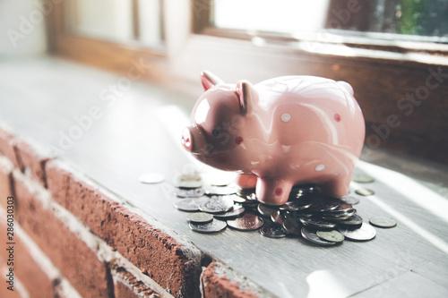 Cuadros en Lienzo  piggy bank on the window