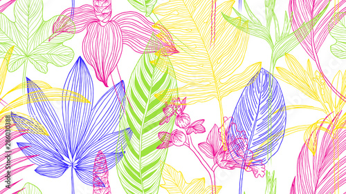 Botanical seamless pattern, colorful tropical leaves and flowers line art ink drawing on white