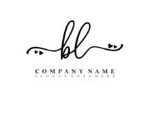 BL Initial Handwriting, Feminine Logo Design Template Vector