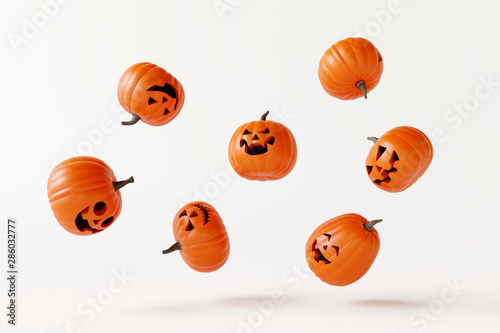 Photo  Happy Halloween pumpkins floating on white bright background