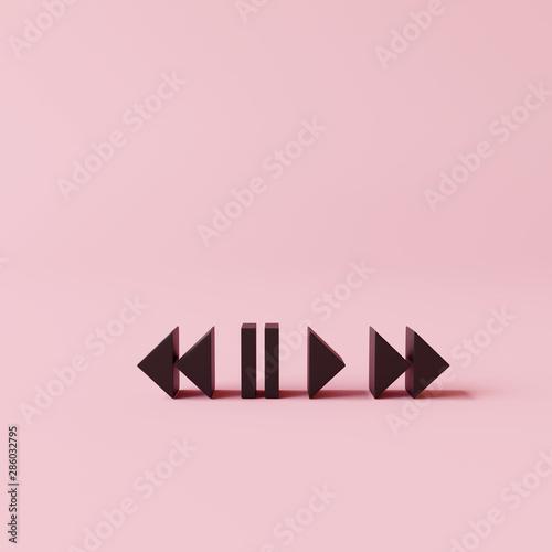 Fotografía Media button symbol on pink background