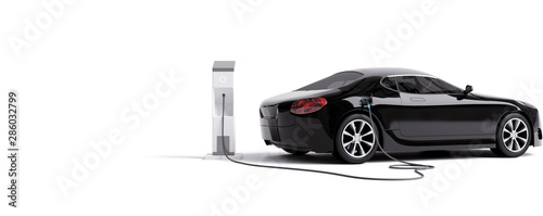 Canvas Print E-mobility, electric car charging battery. 3d rendering