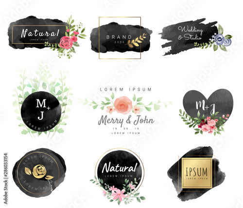 Logo watercolor background banner.for wedding,luxury  logo,banner,badge,printing,product,package.vector illustration Wall mural