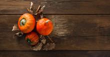 Three Hokkaido Pumpkins With D...