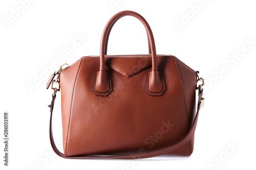 Pinturas sobre lienzo  Brown color luxury fashion bag on background