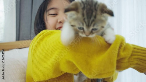 Photo  Close up of Lovely Asian girl playing with cute kitten, Pretty girl holding a ca