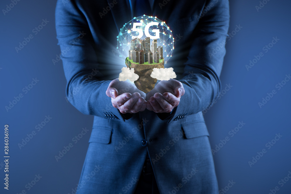 Fototapeta Concept of 5g technology with floating island
