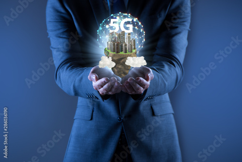 Poster Equestrian Concept of 5g technology with floating island