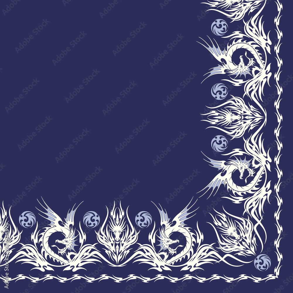 Fototapeta Ornament scarf design using beautiful Tribal and dragon,