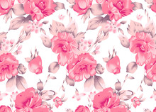 Seamless Pink Textile Floral Pattern On White Background