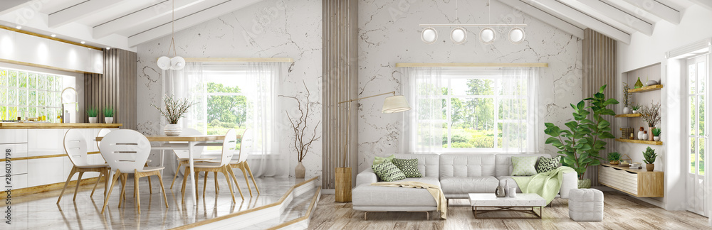 Fototapeta Interior of modern house, living room and dining room, kitchen panorama 3d rendering